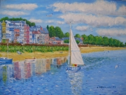 tableau marine st valery somme voilier : BAIE DE SOMME(st valery/somme)