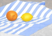 tableau nature morte citron fruit tissu bleu orange : Nature morte au citron