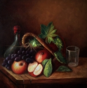 tableau nature morte fruits vases panier naturemorte : Nature morte