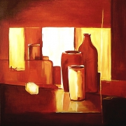 tableau nature morte lumiere poteries ombre rouge : REFLETS ROUGES