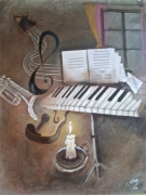 tableau nature morte notes cle portee : musicale