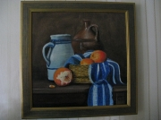 tableau nature morte orange pot ,a eau cruche : nature morte