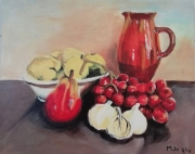 tableau nature morte pichet fruits : Nature morte au pichet
