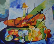 tableau nature morte violon fruits huile : Violon fruité