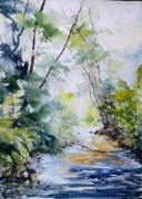 tableau paysages aquarelle abby paysage watercolor : Balade n°3