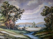 tableau paysages arbres riviere collines : Campagne