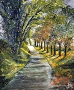 tableau paysages campagne chemin automne feuilles : Rue Aubry