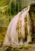 tableau paysages cascade foret magie realisme : Powerful presence