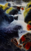 tableau paysages cascade riviere magie realisme : Bright and fresh