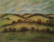 tableau paysages collines campagne bosquets pastel : Vallons