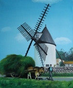 tableau paysages moulin morinand ile de re charrette : le moulin du Morinand