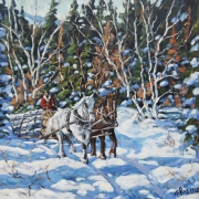 tableau paysages nature chevaux hiver canada : Horses Hauling Wood in Winter