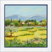 tableau paysages tableaudeprovence paysagedeprovence jonquillescampagne peintredeprovence : Champ de jonquilles