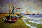 tableau paysages : VANGOGH barques
