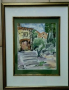 tableau paysages village provence caromb aquarelle : VILLAGE CAROMB