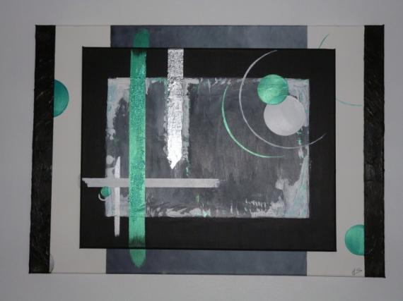 Tableau Peinture Abstrait Contemporain Moderne Gris