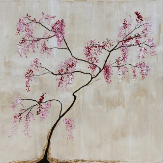 Tableau Peinture Abstrait Fleurs Cerisier En Fleur