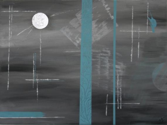 TABLEAU PEINTURE Abstrait Gris Bleu Peinture Abstrait Acrylique   2016N02
