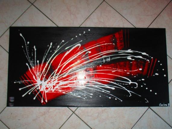 Tableau Peinture Abstrait Moderne Contemporain Rouge En Rouge Et Noir