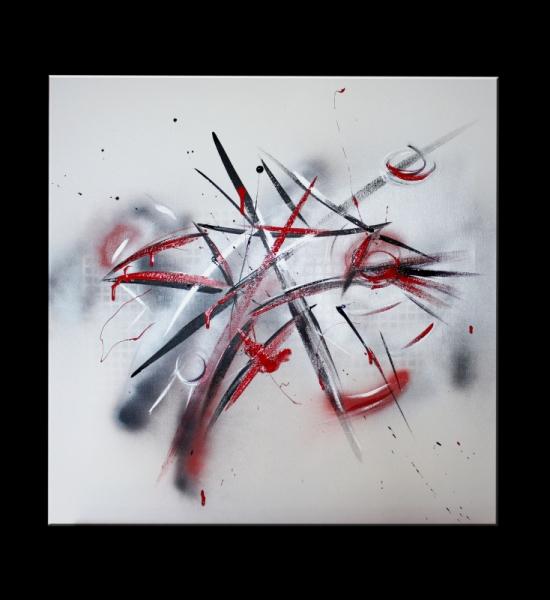 Tableau Peinture Abstrait Noir Rouge Blanc Scene De