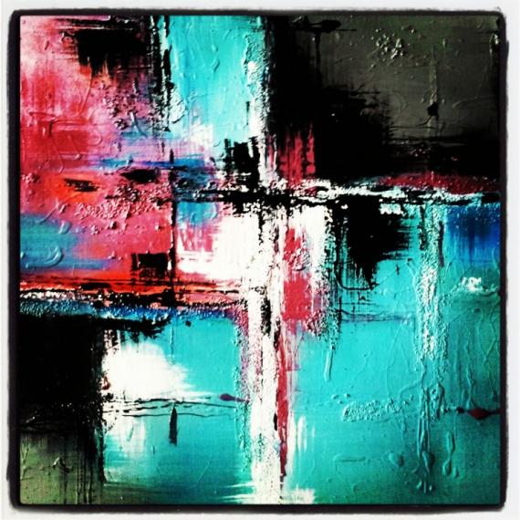 Peinture Abstraite Acrylique Sur Toile,Jusqu