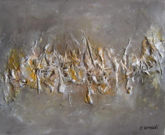 Tableau Peinture Abstrait Taupe Gris Orange Cosmopolitain