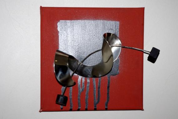 Tableau Peinture Acrylique Metal Bois Vrille