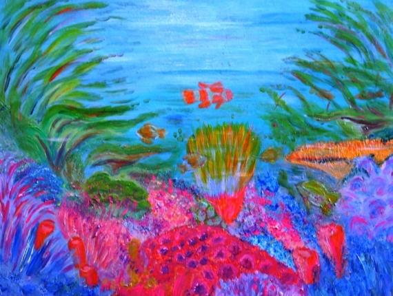Tableau Peinture Acrylique Sur Bois Fond Marin Exotique Cadeau Saint