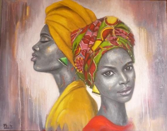 Superbe TABLEAU PEINTURE africaine femme portrait - Duo #QJ_17
