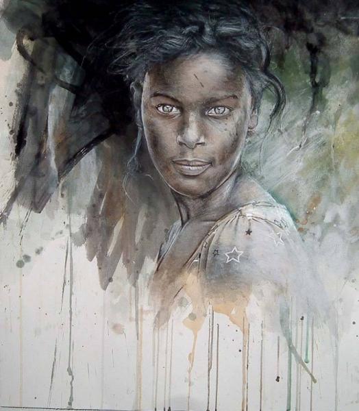 Amante TABLEAU PEINTURE africaine portrait femme afrique - africaine &AX_25