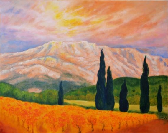 Nice TABLEAU PEINTURE Aix En Provence Montagne Ste Victoire Paysages Acrylique    MONTAGNE STE VICTOIRE AU COUCHANT