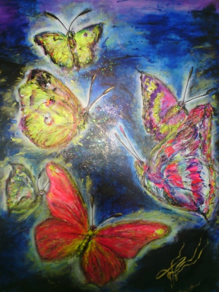 Tableau Peinture Papillons Pop Art