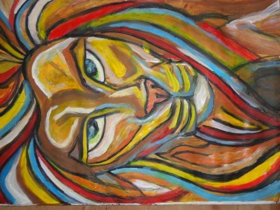 Tableau Peinture Animaux Coloré Acrylique Design Roi Des Couleurs