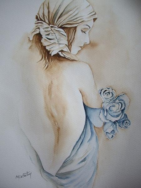 TABLEAU PEINTURE aquarelle femme aquarelle femme nue aquarelliste marie C  aquarelle rose bleue Personnages Aquarelle - ea34fb28dc61
