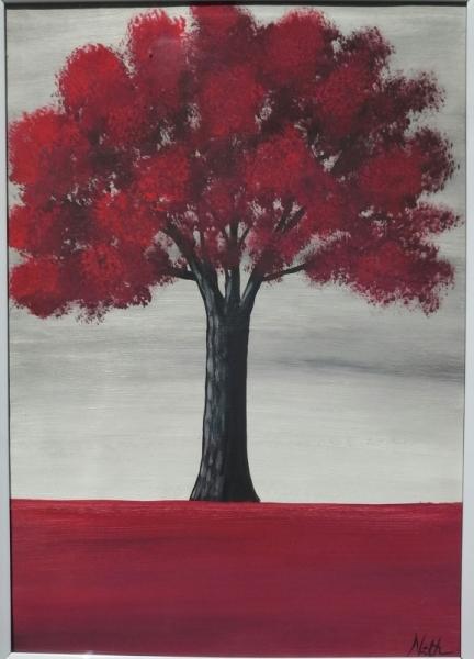 Tableau Peinture Arbre Arbre Rouge Nature Peinture Arbre Rouge