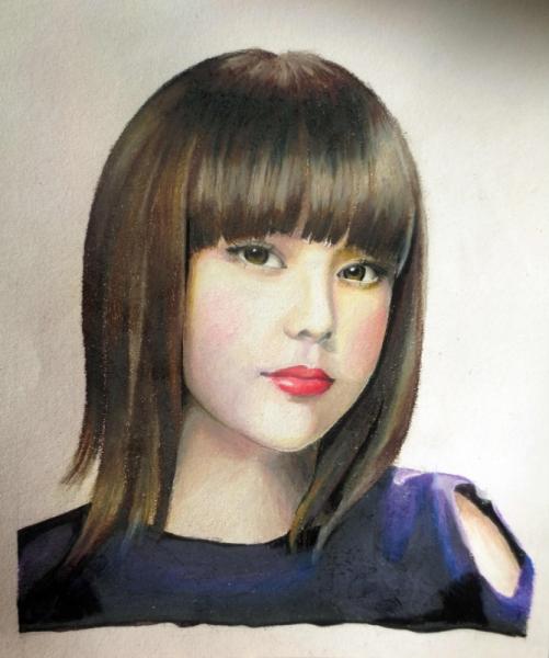 Tableau Peinture Asiatique Chinoise Fille Femme Jolie Gentille