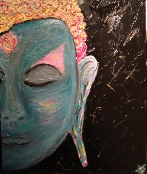 TABLEAU PEINTURE Asie Bouddha Thaïlande Relief