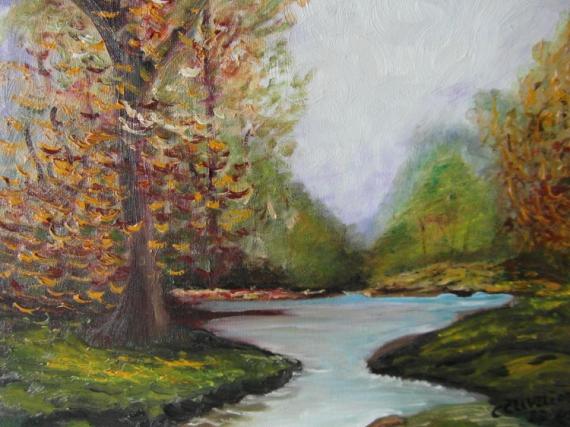 Tableau rivière et foret 2 9295de89836cb661f46c10a971625afepaysage automne reduit