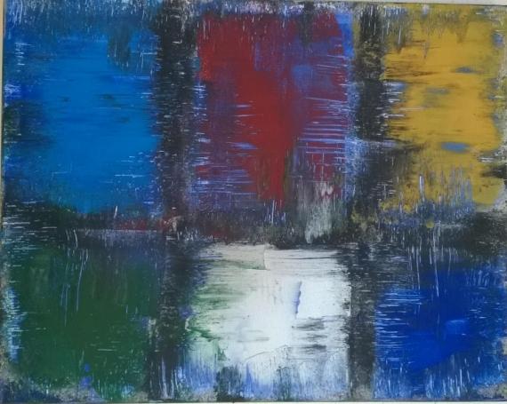 Tableau Peinture Bleu Blanc Rouge La Force Du Contrast