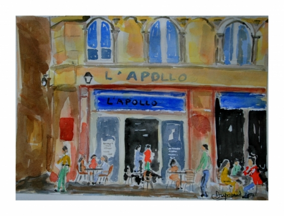 TABLEAU PEINTURE bordeaux apollo bar ville Architecture Aquarelle  - l'Apollo