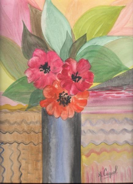 Tableau Peinture Bouquet Fleurs Abstrait Moderne Bouquet