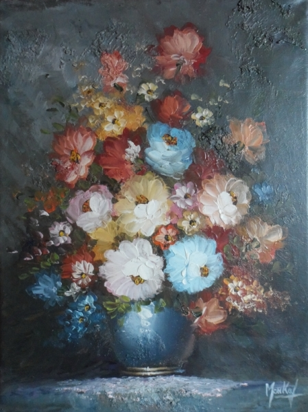 TABLEAU PEINTURE bouquet fleurs huile toile