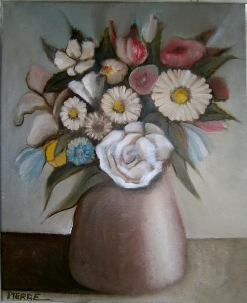 TABLEAU PEINTURE bouquet fleurs vase cônique Fleurs Peinture a l\u0027huile ,  fleurs dans un