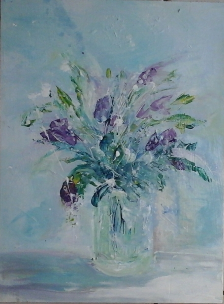 TABLEAU PEINTURE bouquet fleurs vase printemps Fleurs Acrylique , bouquet  de mai 3