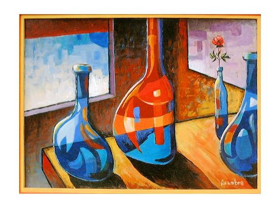 Tableau Peinture Bouteilles Elégance Couleurs Les Bouteilles Et La