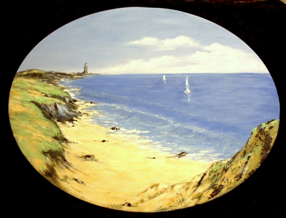 Plus adapté TABLEAU PEINTURE bretagne bord de mer dunes bateaux - Marine WD-06