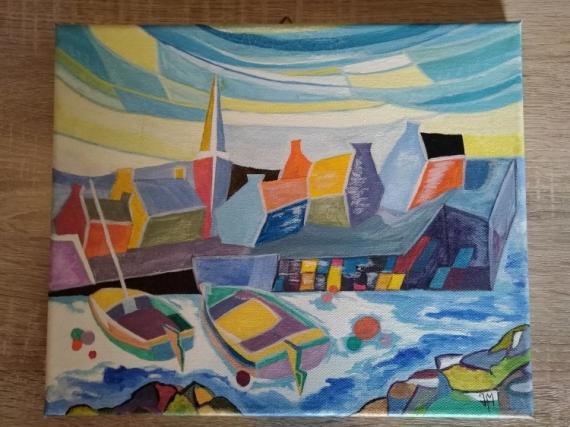 Tableau Peinture Bretagne Marine Port Cubisme Port Breton