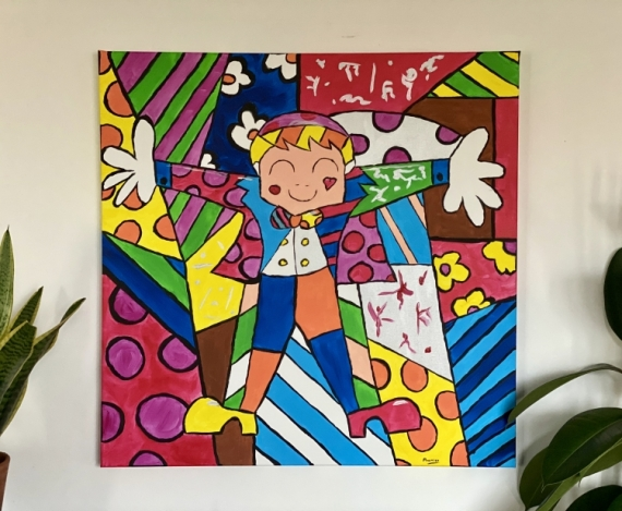 TABLEAU PEINTURE Britto happy Boy Color Personnages Acrylique  - Happy Boy