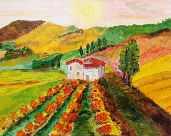 Tableau Peinture Carton Toilé Paysage Languedoc Vignes Les Vignes