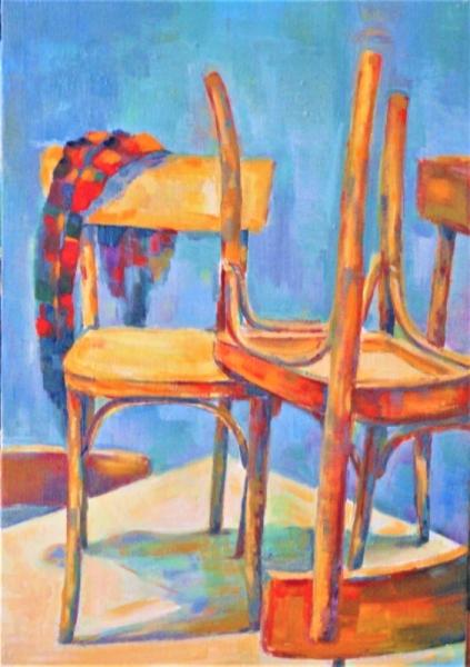 Tableau Peinture Chaise Foulard Origi Foulard Sur Une Chaise